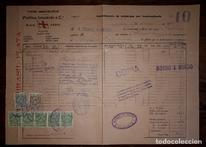 CONOCIMIENTO DE EMBARQUE PINILLOS IZQUIERDO Y CIA ALICANTE A BUENOS AIRES 1923 SERVICIO CONSULAR (Coleccionismo - Líneas de Navegación)