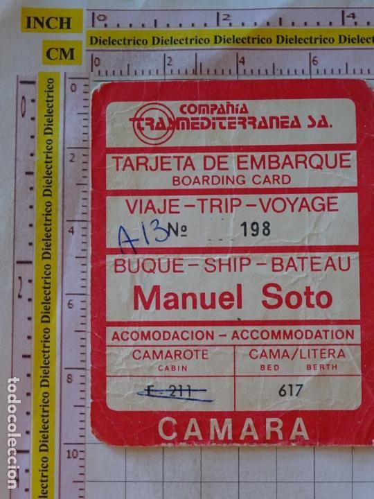 BILLETE TICKET PASAJE VIAJE BUQUE TRASMEDITERRANEA BARCO MANUEL SOTO (Coleccionismo - Líneas de Navegación)