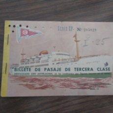 Líneas de navegación: PASAJE TERCERA CLASE TRANSMEDITERRANEA BUQUE SEVILLA. Lote 168558004