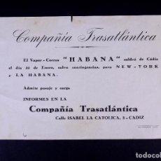 Líneas de navegación: VAPOR-CORREO HABANA. COMPAÑÍA TRASATLÁNTICA. Lote 168736876