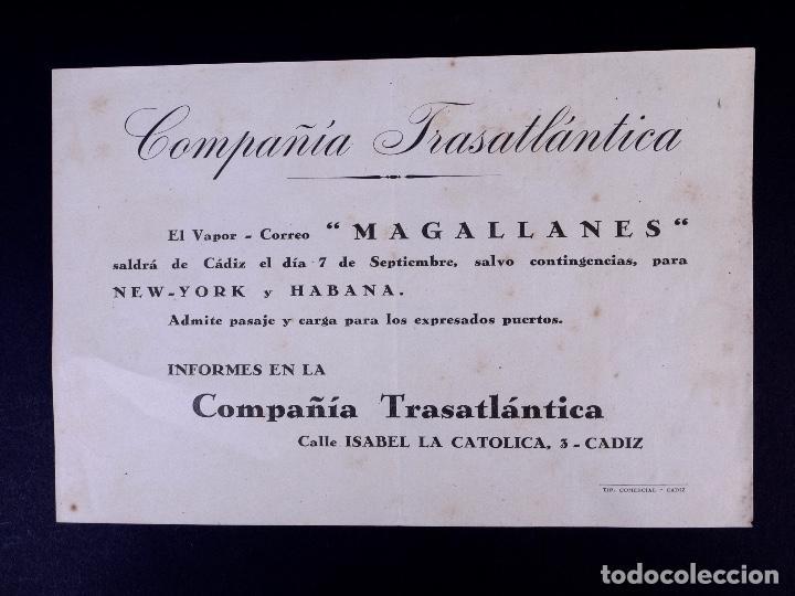 VAPOR-CORREO MAGALLANES 07.09.1947. COMPAÑÍA TRASATLÁNTICA (Coleccionismo - Líneas de Navegación)
