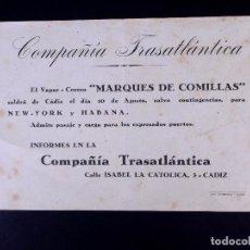 Líneas de navegación: VAPOR-CORREO MARQUÉS DE COMILLAS 10.08.1947. COMPAÑÍA TRASATLÁNTICA. Lote 168739492