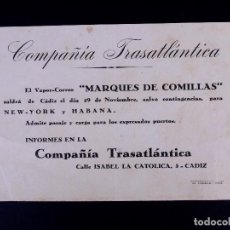 Líneas de navegación: VAPOR-CORREO MARQUÉS DE COMILLAS 29.11.1947. COMPAÑÍA TRASATLÁNTICA. Lote 168739604