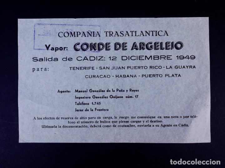 VAPOR CONDE DE ARJELEJO 12.12.1949. COMPAÑÍA TRASATLÁNTICA (Coleccionismo - Líneas de Navegación)