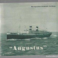 Líneas de navegación: CATALOGO VAPOR AUGUSTUS. NAVIGAZIONE GENERALE ITALIANA. ILUSTRADO. VER FOTOS. Lote 169553208