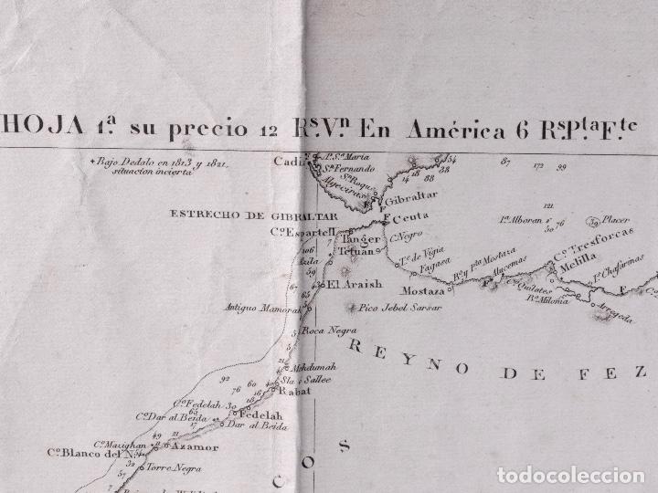 Líneas de navegación: CARTA NAUTICA GENERAL OCEANO ATLANTICO SETENTRIONAL, GOLFO DE GUINEA, 1855 - Foto 6 - 111776891