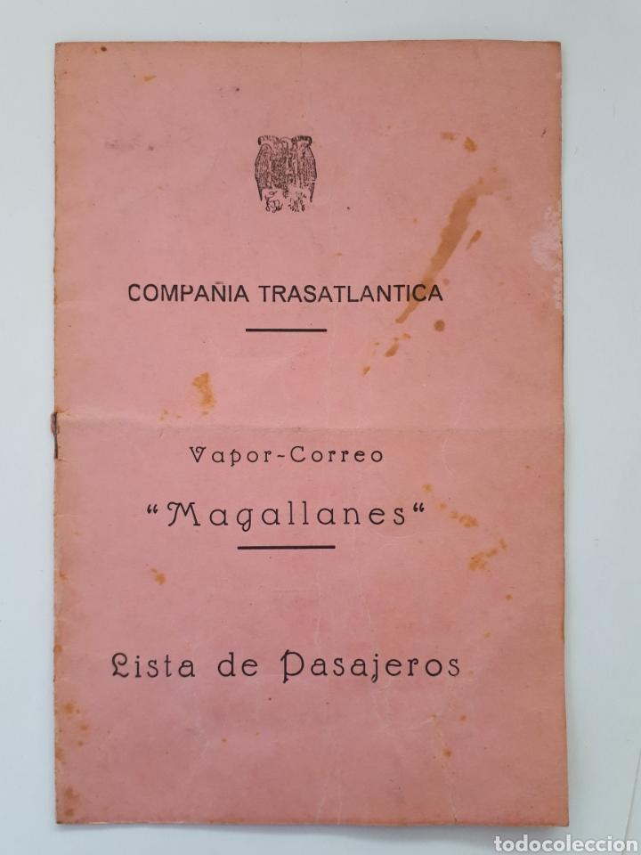COMPAÑIA TRASATLANTICA. VAPOR - CORREO MAGALLANES. LISTA DE PASAJEROS. 1945 (Coleccionismo - Líneas de Navegación)