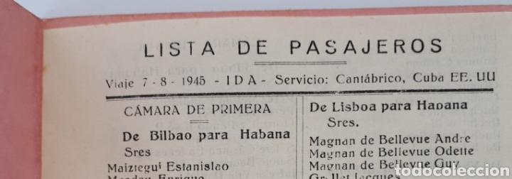 Líneas de navegación: COMPAÑIA TRASATLANTICA. Vapor - correo MAGALLANES. Lista de pasajeros. 1945 - Foto 4 - 171592545