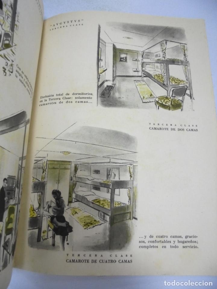 Líneas de navegación: FOLLETO PUBLICITARIO. GIVLIO CESARE AUGUSTUS. ITALIA. VER INTERIOR. DIBUJOS DEL BARCO - Foto 7 - 172688192