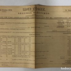 Líneas de navegación: LLOYD ANDALUZ. SEGUROS MARITIMOS. Nº 214. CADIZ, FEBRERO DE 1879. . Lote 173636999