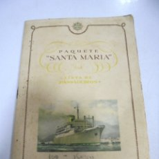Líneas de navegación: PAQUETE SANTA MARIA. LISTA PASAJEROS. COMPAÑIA COLONIAL DE NAVEGACION. VIAJE Nº 21 / 1846. AÑO 1956. Lote 174058188