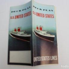 Líneas de navegación: PR-1281. DECK PLAN. S.S. UNITED STATES. UNITED STATES LINE. . Lote 175088184