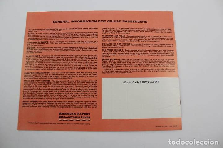 Líneas de navegación: PR-1297. NFORMACION SUNLANE CRUISES TO EUROPE AND THE MEDITERRANEAN 1967. - Foto 4 - 175990358