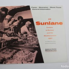 Líneas de navegación: PR-1297. NFORMACION SUNLANE CRUISES TO EUROPE AND THE MEDITERRANEAN 1967.. Lote 175990358