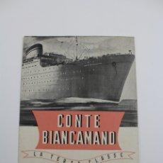 Líneas de navegación: PR-1295. CONTE BIANCAMANO, LA TERZA CLASSE. SOCIETA DI NAVIGAZIONE, GENOVA.. Lote 175990605