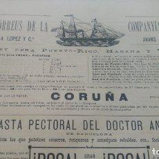 Líneas de navegación: VAPOR-CORREOS COMPAÑIA TRASATLANTICA VAPOR CORUÑA HOJA AÑO 1882 (EN CATALAN) ORIGINAL. Lote 176185097