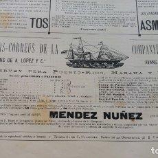 Líneas de navegación: VAPOR-CORREOS COMPAÑIA TRASATLANTICA VAPOR MENDEZ NUÑEZ HOJA AÑO 1882 (EN CATALAN) ORIGINAL. Lote 176185490