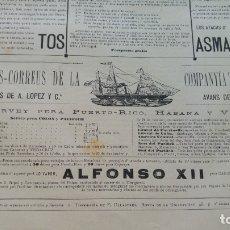 Líneas de navegación: VAPOR-CORREOS COMPAÑIA TRASATLANTICA VAPOR ALFONSO XII HOJA AÑO 1882 (EN CATALAN) ORIGINAL. Lote 176185549
