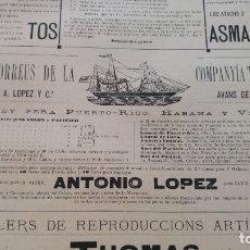 Líneas de navegación: VAPOR-CORREOS COMPAÑIA TRASATLANTICA VAPOR ANTONIO LOPEZ HOJA AÑO 1882 (EN CATALAN) ORIGINAL. Lote 176185643