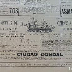 Líneas de navegación: VAPOR-CORREOS COMPAÑIA TRASATLANTICA VAPOR CIUDAD CONDAL HOJA AÑO 1882 (EN CATALAN) ORIGINAL. Lote 176185733