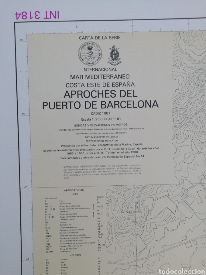 CARTA NAUTICA BARCELONA 114 X 80 CMS (Coleccionismo - Líneas de Navegación)