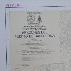 Líneas de navegación: CARTA NAUTICA BARCELONA 114 X 80 CMS. Lote 212324735