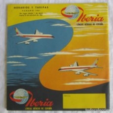 Líneas de navegación: HORARIOS Y TARIFAS DE IBERIA, VERANO DE 1961. Lote 177716310