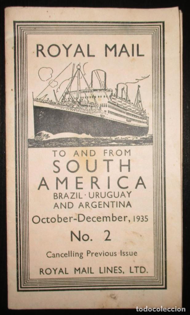 FOLLETO DE LOS CRUCEROS ROYAL MAIL LINES A SUDAMÉRICA PARA CORREO Y PASAJE. GIJÓN, 1935. (Coleccionismo - Líneas de Navegación)