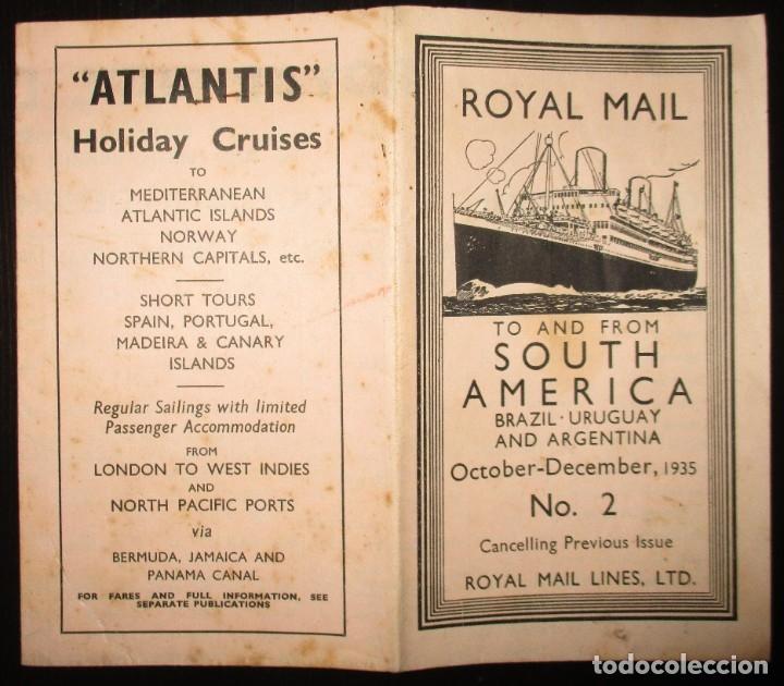 Líneas de navegación: FOLLETO DE LOS CRUCEROS ROYAL MAIL LINES A SUDAMÉRICA PARA CORREO Y PASAJE. GIJÓN, 1935. - Foto 2 - 178088134