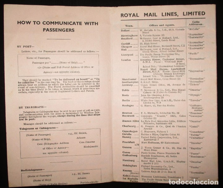 Líneas de navegación: FOLLETO DE LOS CRUCEROS ROYAL MAIL LINES A SUDAMÉRICA PARA CORREO Y PASAJE. GIJÓN, 1935. - Foto 3 - 178088134