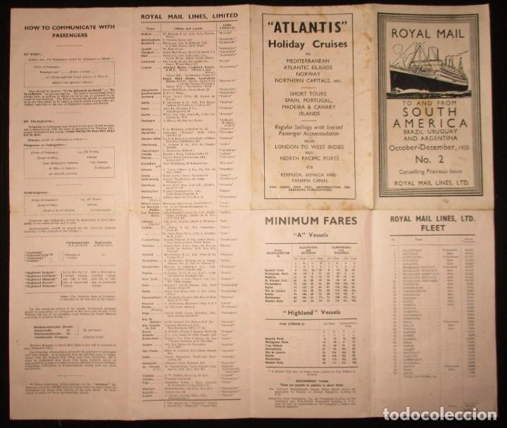 Líneas de navegación: FOLLETO DE LOS CRUCEROS ROYAL MAIL LINES A SUDAMÉRICA PARA CORREO Y PASAJE. GIJÓN, 1935. - Foto 4 - 178088134