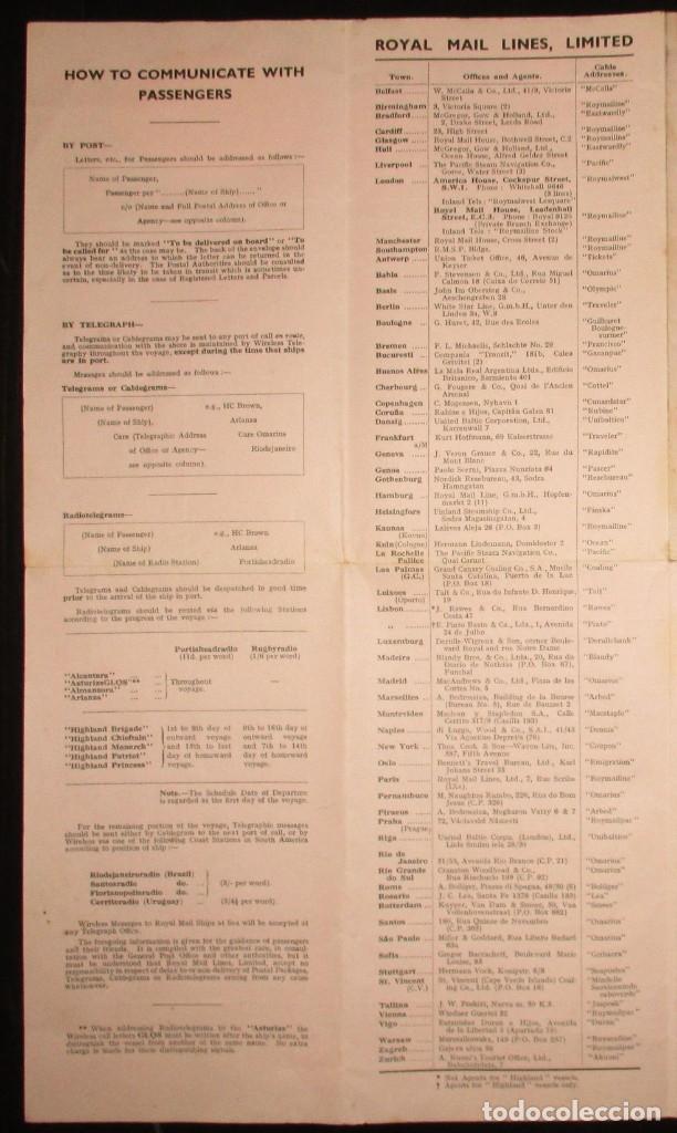 Líneas de navegación: FOLLETO DE LOS CRUCEROS ROYAL MAIL LINES A SUDAMÉRICA PARA CORREO Y PASAJE. GIJÓN, 1935. - Foto 5 - 178088134