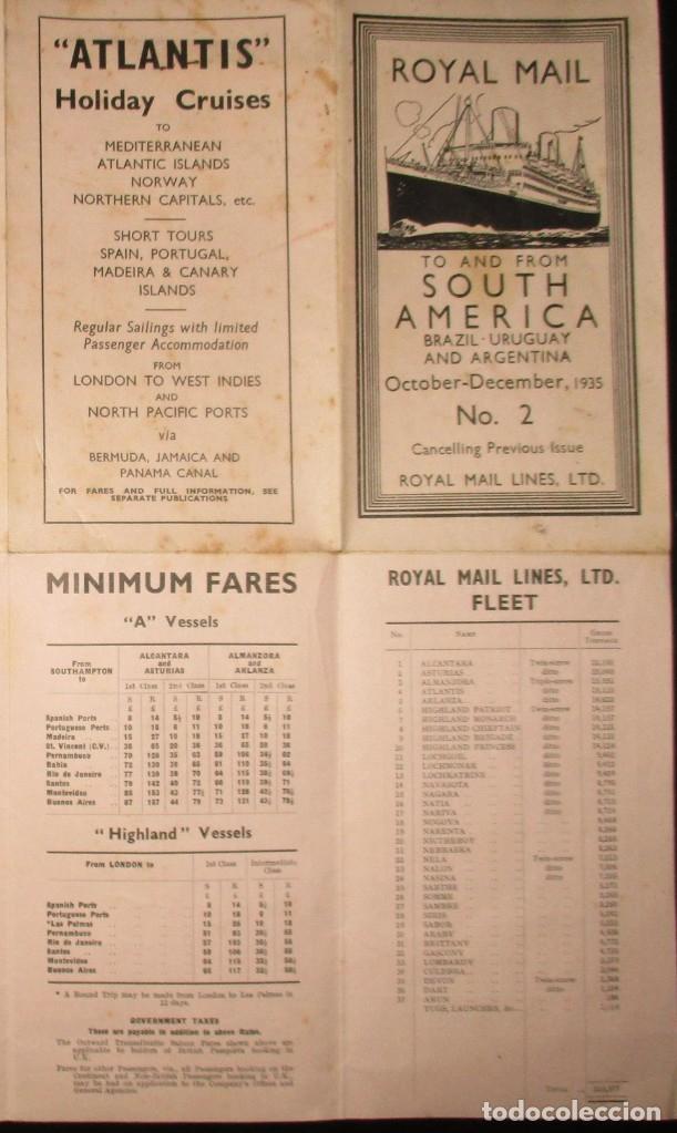 Líneas de navegación: FOLLETO DE LOS CRUCEROS ROYAL MAIL LINES A SUDAMÉRICA PARA CORREO Y PASAJE. GIJÓN, 1935. - Foto 6 - 178088134