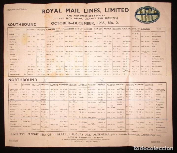 Líneas de navegación: FOLLETO DE LOS CRUCEROS ROYAL MAIL LINES A SUDAMÉRICA PARA CORREO Y PASAJE. GIJÓN, 1935. - Foto 8 - 178088134