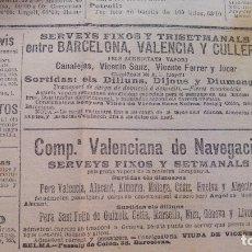 Líneas de navegación: COMPAÑIA VALENCIANA DE NAVEGACION VALENCIA BARCELONA CULLERA VAPORES PERIODICO AÑO 1904. Lote 178206678