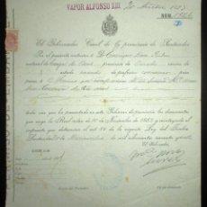 Líneas de navegación: PERMISO DE EMBARQUE DE 1897 EN EL VAPOR ALFONSO XIII CON DESTINO MÉXICO.GOBIERNO CIVIL DE SANTANDER.. Lote 178566418