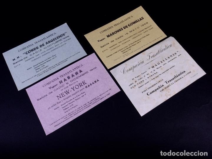 VAPORES COMPAÑIA TRASATLANTICA. 4 UDS. DEFERENTES EMBARQUES. 1949 (Coleccionismo - Líneas de Navegación)