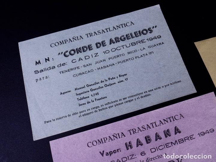 Líneas de navegación: VAPORES COMPAÑIA TRASATLANTICA. 4 UDS. DEFERENTES EMBARQUES. 1949 - Foto 2 - 179131102