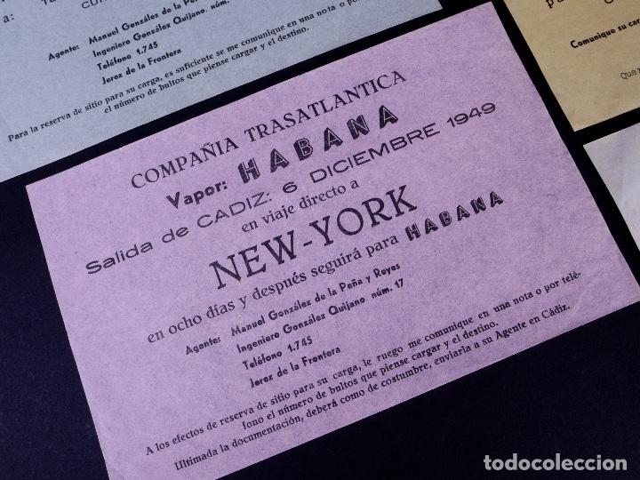 Líneas de navegación: VAPORES COMPAÑIA TRASATLANTICA. 4 UDS. DEFERENTES EMBARQUES. 1949 - Foto 3 - 179131102