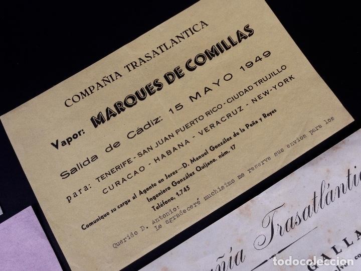 Líneas de navegación: VAPORES COMPAÑIA TRASATLANTICA. 4 UDS. DEFERENTES EMBARQUES. 1949 - Foto 4 - 179131102
