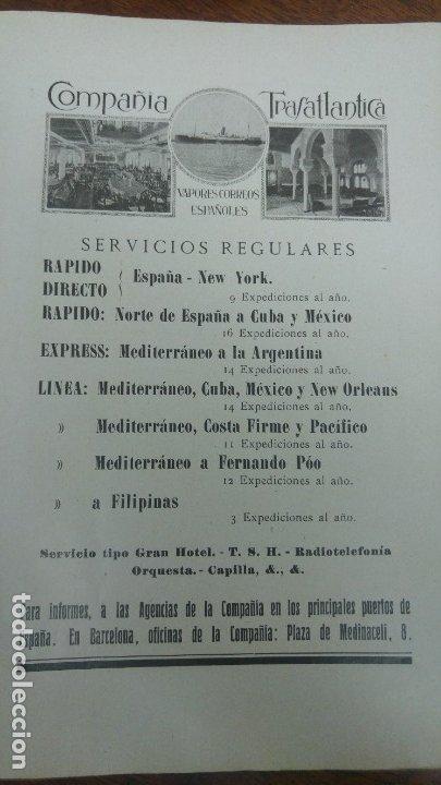 Líneas de navegación: COMPAÑIA TRASATLANTICA VAPORES CORREOS ESPAÑOLES SERVIVIOS REGULARES FILIPINAS LINEAS HOJA AÑO 1928 - Foto 2 - 180128668