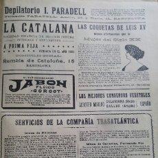 Líneas de navegación: COMPAÑIA TRASATLANTICA SERVICIOS Y LINEAS FILIPINAS CANARIAS CUBA NEW YORK HOJA PUBLICIDAD AÑO 1911. Lote 180862378