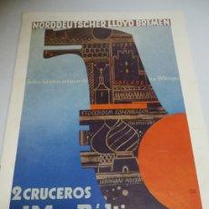 Líneas de navegación: NORDDEUTSCHER LLOYD BREMEN. 2 CRUCEROS AL MAR BALTICO. 1935. RUTAS ANTIGUAS DE LOS WIKINGER. Lote 181444152