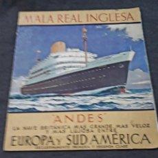 Líneas de navegación: FOLLETO NAVE ANDES MALA REAL INGLESA. ROYAL MAIL LINES SUD AMÉRICA SOUTH. BUQUE TRANSATLANTICO. Lote 181479551
