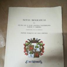 Líneas de navegación: NOTAS BIOGRAFICAS DE JUAN CERVERA VALDERRAMA TOPETE Y CABRERA. 1º MARQUES CASA CERVERA. 1961. Lote 182941618