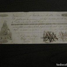 Líneas de navegación: CONOCIMIENTO DE EMBARQUE-BARCELONA-BILBAO-SANTANDER-ENERO 1830-VER FOTOS-(V-18.682). Lote 189574772