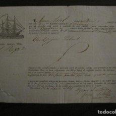 Líneas de navegación: CONOCIMIENTO DE EMBARQUE-LA HABANA-BARCELONA-AGOSTO 1834-VER FOTOS-(V-18.684). Lote 189575353