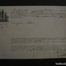 Líneas de navegación: CONOCIMIENTO DE EMBARQUE-BARCELONA-LA HABANA-AGOSTO 1834-VER FOTOS-(V-18.685). Lote 189575483