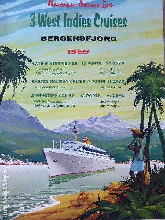 PR-1467. BERGENSFJORD. NORWERGIAN AMERICA LINE. 3 WEST INDIES CRUISES. YEAR 1969. (Coleccionismo - Líneas de Navegación)