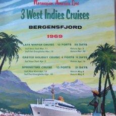 Líneas de navegación: PR-1467. BERGENSFJORD. NORWERGIAN AMERICA LINE. 3 WEST INDIES CRUISES. YEAR 1969.. Lote 190613200